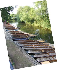 A long view of the punts at the Cherwell Boat House