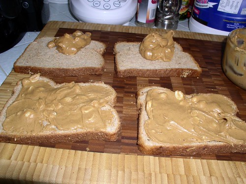 spread PB on slices