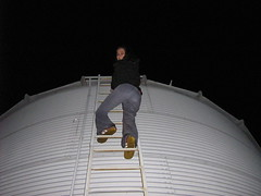 climbing up the grain bin ladder