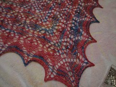 Flower basket shawl, point detail