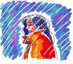 Woman under rain...