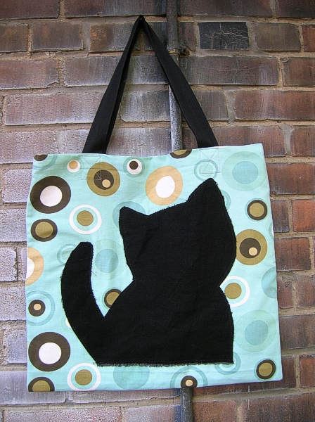 kitty tote; aqua