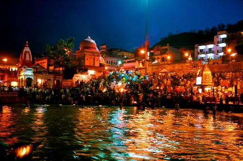Ganga flows burnt red and gold at Haridwar