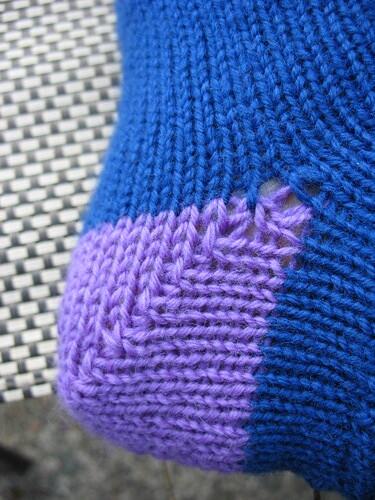 Blue sock heel