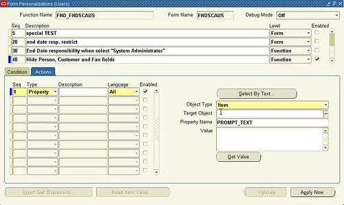Oracle Form Personalization (Users) Actions tab