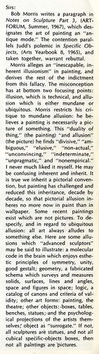 Jo Baer's letter to Artforum,  September 1967