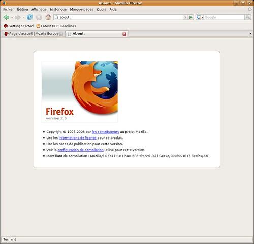 firefox 2.0rc1 sous Ubuntu Linux