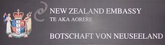 Schild der Botschaft von Neuseeland
