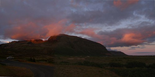 red clouds over mountain