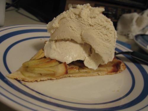 Sliced apple tartine with vanilla bean ice cream