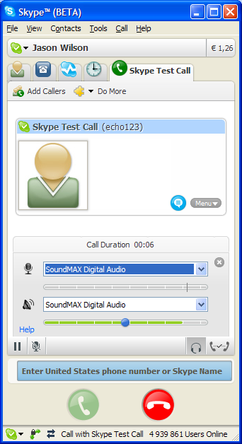 Sound settings wizard in Skype 3 beta